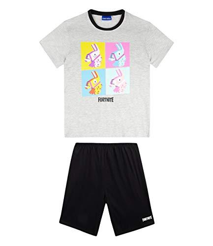 Fortnite Pijama Mangas Cortas para Niños (10 años, Gris)