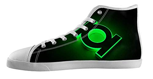 Men's Green Lantern White High Top Canvas Shoes Green...