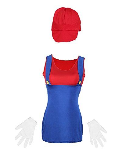 Emmas Wardrobe Mario Damas Disfraz Incluye por Rojo o Verde...