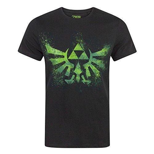 Zelda Camiseta Negra de Manga Corta con Logo de Triforce...