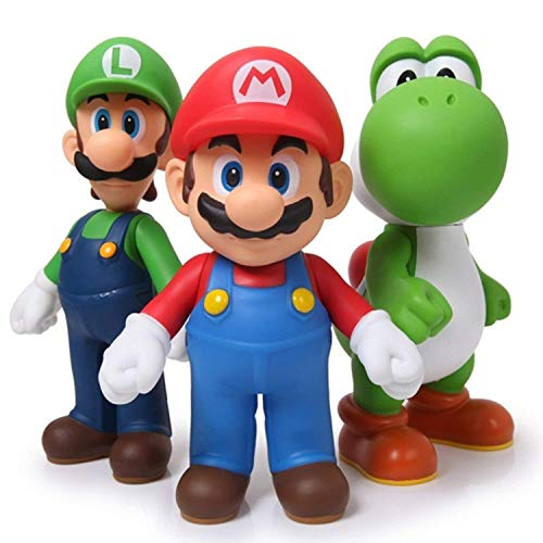 3pcs/set Super Mario Bros Luigi Mario Yoshi PVC Action...