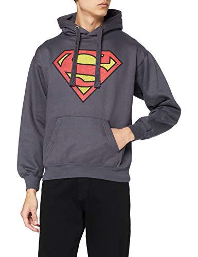 DC Comics Sudadera con Capucha Superman Distress Logo Azul...