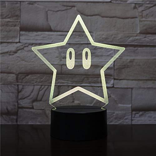 WoloShop Lampara LED Estrella Super Mario Cambia Color USB...