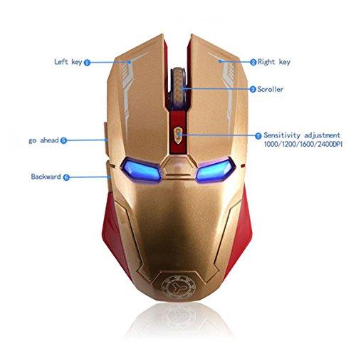 AIKEDA Taonology Ratón inalámbrico Iron Man,USB Ratón...
