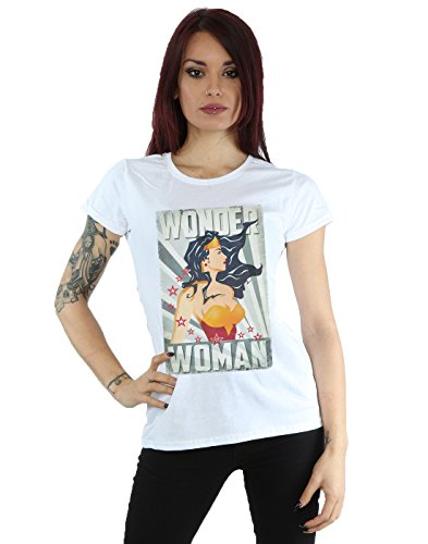 DC Comics Wonder Woman Poster Camiseta, Blanco, M para Mujer
