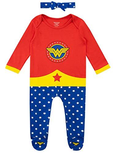 Wonder Woman Pijama Entera y Venda para Niñas Bebés Multi...