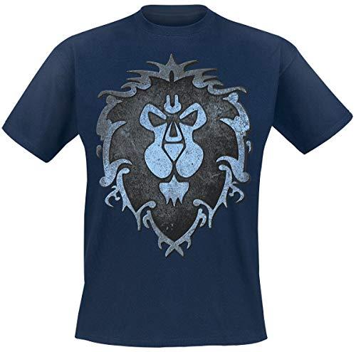 World of Warcraft Camiseta Hombre Logo de algodón Azul de...