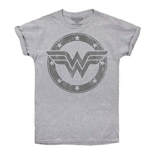 DC Comics Wonder Woman Metallic Logo Camiseta, Gris (Sport...