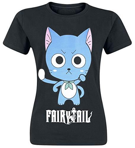 Fairy Tail Happy High Five Camiseta Mujer Negro M
