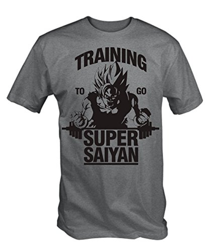 "T-shirt Gris Imprimé 'Training to go Super Saiyan"", L"