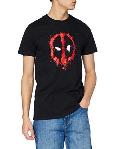 Marvel Deadpool Paint Logo Camiseta, Negro, L para Hombre