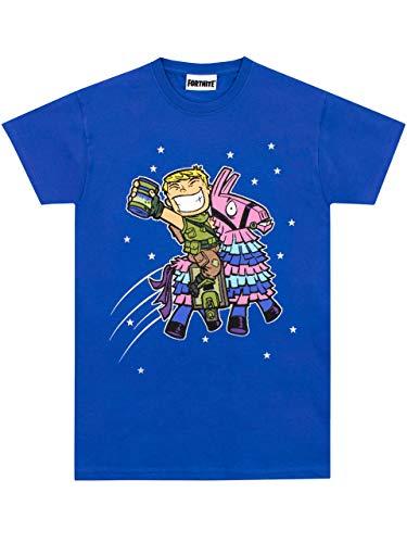 Fortnite Camiseta de Manga Corta para niños Llama Azul 9-11...