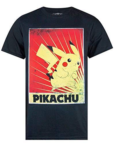 Pokemon Pikachu Propaganda Poster Men's T-Shirt (X-Large)