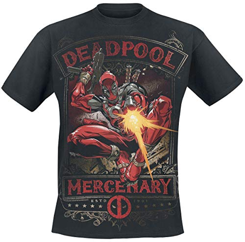 Deadpool Mercenary Hombre Camiseta Negro 3XL, 100% algodón,...
