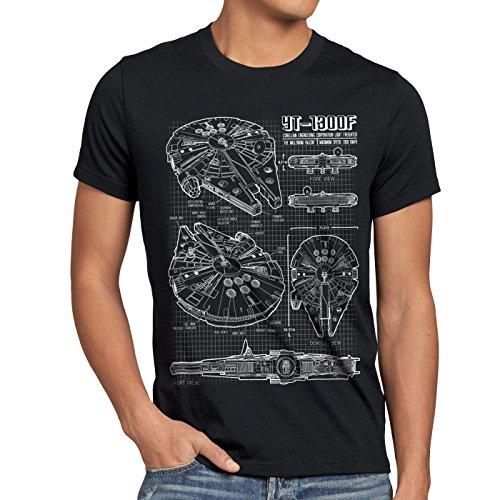 style3 Halcón Milenario Cianotipo Camiseta para Hombre...