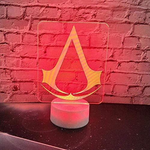 Juego De Luz Nocturna 3D Assassins Creed Logo Lámpara 3D...