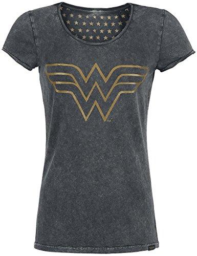 Wonder Woman Logo Camiseta Mujer Antracita L, 100% algodón,...