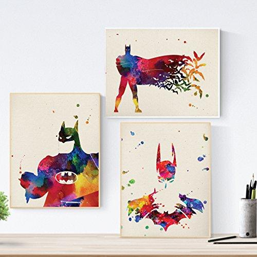 Set de Tres láminas para enmarcar Batman. Pack de Posters...