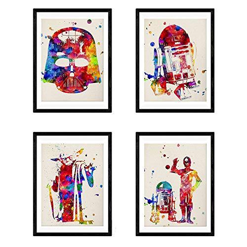 Set de 4 láminas para enmarcar STAR WARS estilo acuarela....