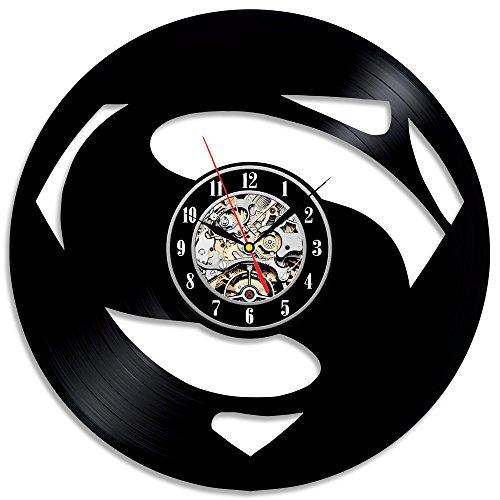 Reloj de pared hecho a mano Insolite Superman de vinilo