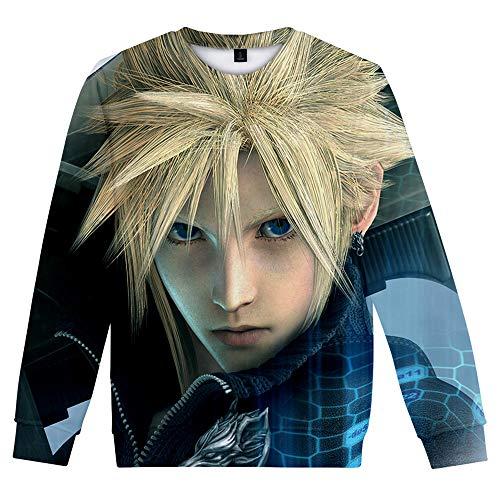 Final Fantasy Pullover Sudadera con Cuello Redondo de Manga...