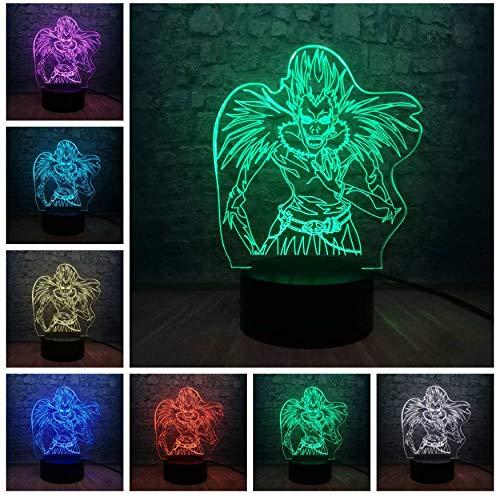 Lámpara de ilusión 3D death note Ryuk acción LED7 cambio...