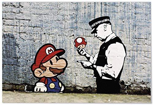 Panorama Póster Banksy Super Mario 70x50cm - Impreso en...