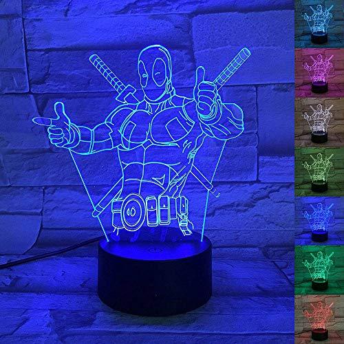 Lámpara de ilusión óptica 3D, efecto llevado 3D DEADPOOL...