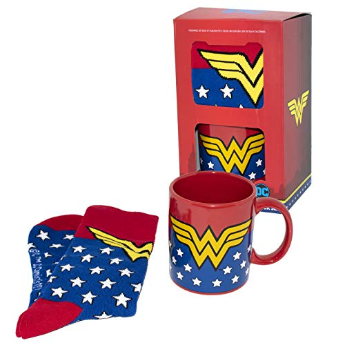 DC Comics Taza y Calcetines Wonderwoman, Cerámica,...