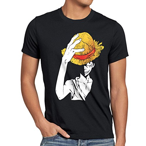 style3 Luffy Sombrero Camiseta para Hombre T-Shirt,...
