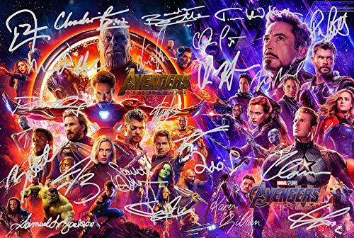 Póster de Los Vengadores Infinity Guerra firmada PP por 22...