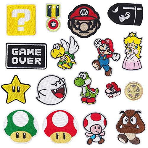 17 piezas Parches de planchado para videojuegos de Super...