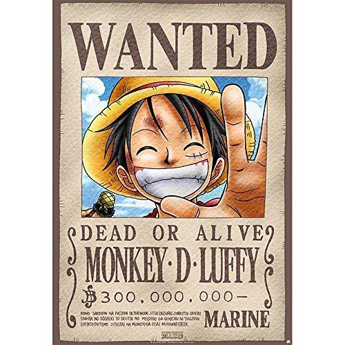 Abismal - Placa de Metal - una Pieza -Luffy Wanted (28x38) -...